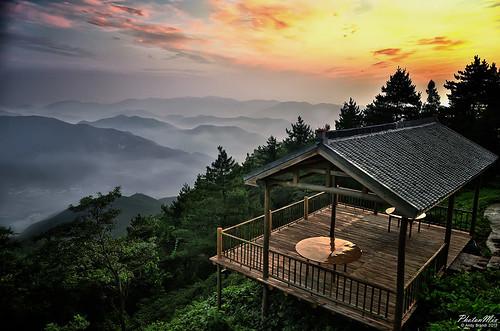 china morning trees roof mist nature misty forest sunrise reflections landscape nikon village bamboo hills foliage pavilion moganshan zhejiang beautyinnature photonmix