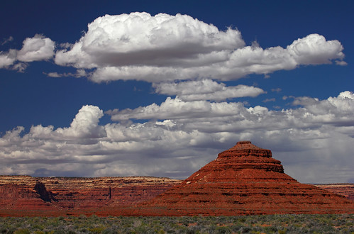 Natural ziggurat and clouds, near Bluff, US163, Utah
