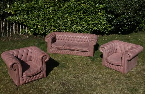 A Chesterfield Suite, fibreglass re-inforced cast concrete sofa comprising sofa and two chairs, Lot 447