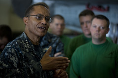 In this file photo, Adm. Cecil Haney speaks with Sailors aboard the aircraft carrier USS Carl Vinson (CVN 70) in May. (U.S. Navy photo by Mass Communication Specialist 2nd Class James R. Evans)