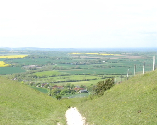 View from up top Berwick to Birling Gap The path up to and above the long man