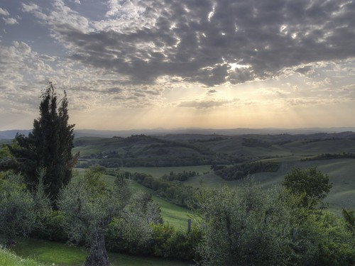 Sunbeams over Val d'Orcia