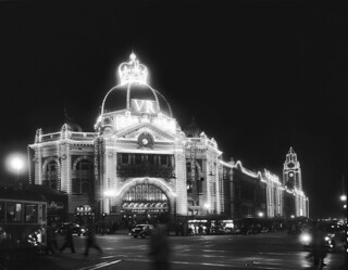 Flinders Street Station, Royal Visit and Railways Centenary Decorations 1954