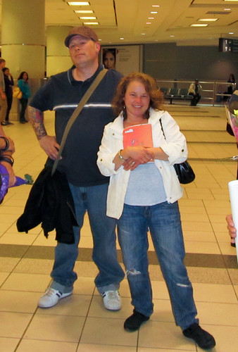Jeremy (Chris' bro), Sara (my sista) looking cool in Toronto Airport :). 10MAY12