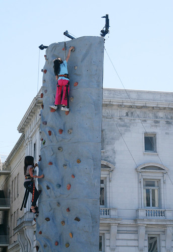 Girls Climbing the Wall