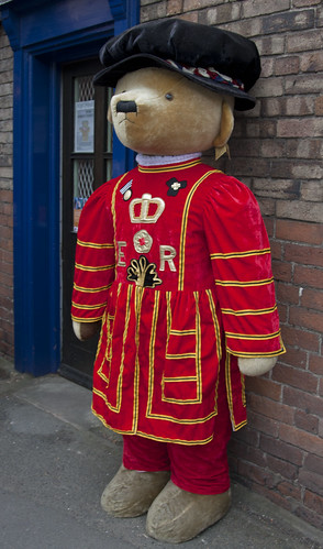 Merrythought bear, Ironbridge, Shropshire