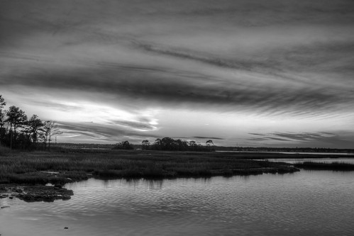 sunset blackandwhite bw cloud sun clouds bay md maryland bishopville assawomanbay