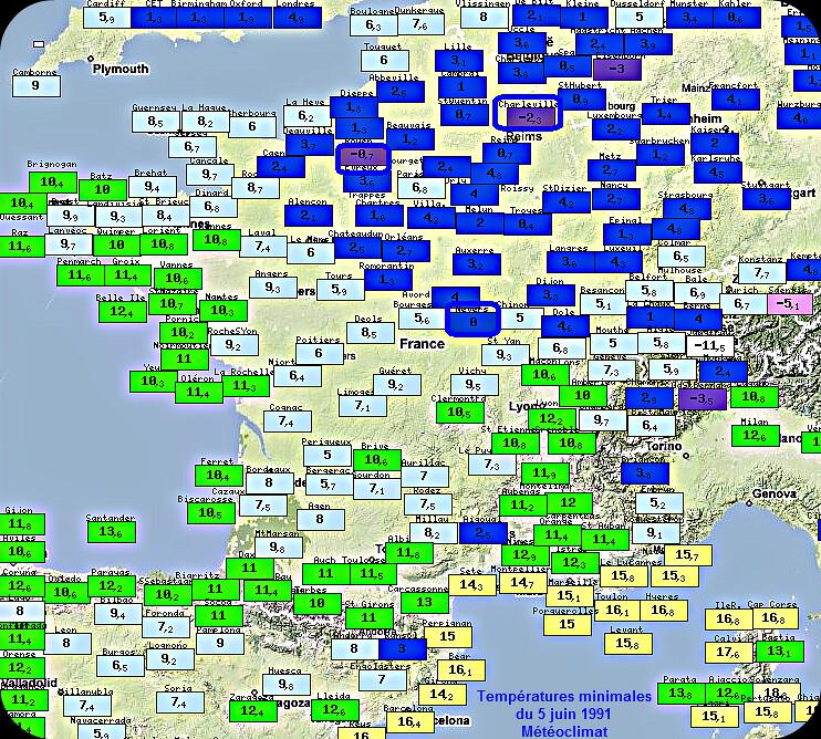 températures minimales, gelées tardives et records de froid du 5 juin 1991 météopassion