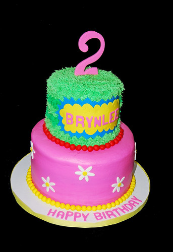 Bright colored 2nd birthday cake for a Yo Gabba Gabba Themed Party