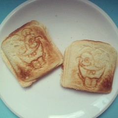 on my plate: spongebob toast with ham & cheese.