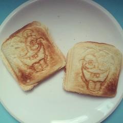 on my plate: spongebob toast with ham & cheese.