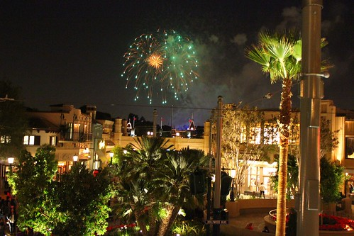 Disneyland fireworks from Carthay Circle Restaurant balcony