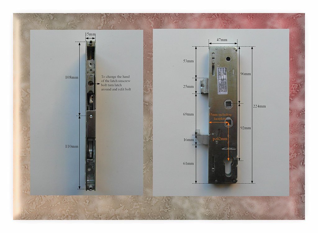 Kenrick excalibur pz92 62mm lockcase gearbox mechanism for for Upvc offset french doors