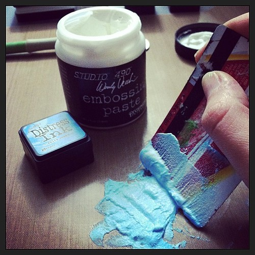 Custom colored embossing paste?  Yup.  Loving this!