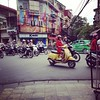 Out the cafe window. #hanoi #scooters