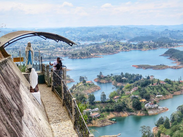 taking photos above the Guatape lakes