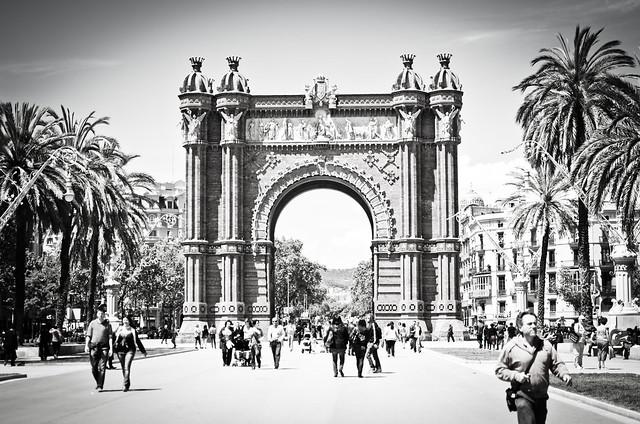 Barcelona's big brick Arc de Triomf leads pedestrians to Ciutadella Park.