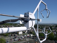 """Ultrasonic Anemometer and Inlet for TGA200 on top of Flux Tower """"Vancouver-Sunset"""""""