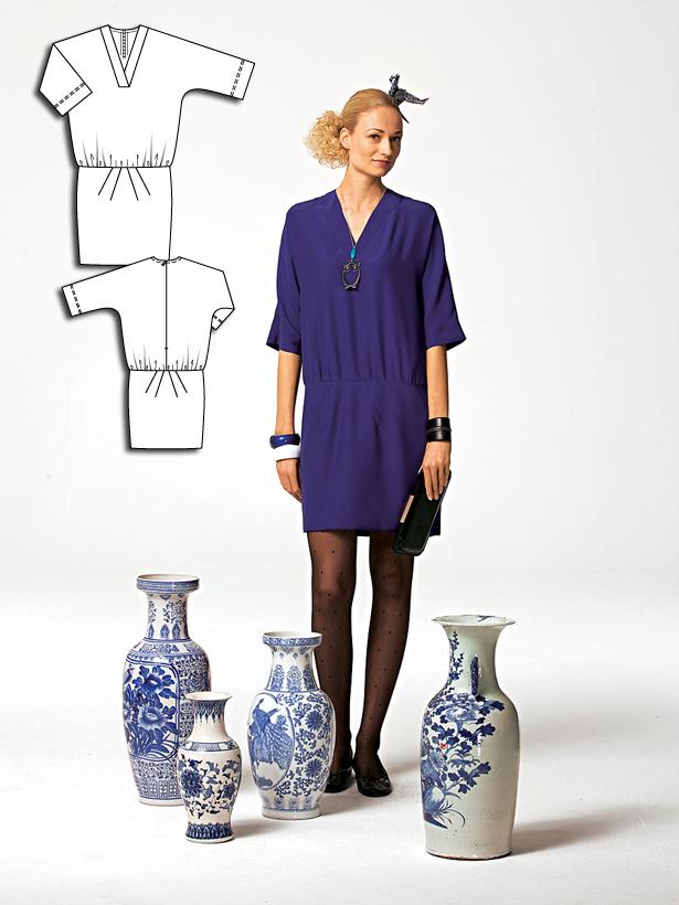 Women's three quarter sleeve dress sewing pattern 108 052010