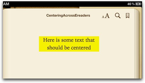 Centering-iBooks iPad