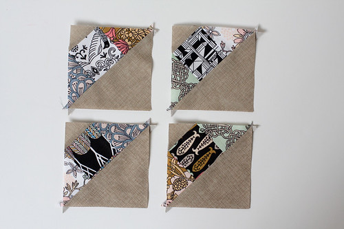 Half-Square Triangle Pot Holders by jenib320