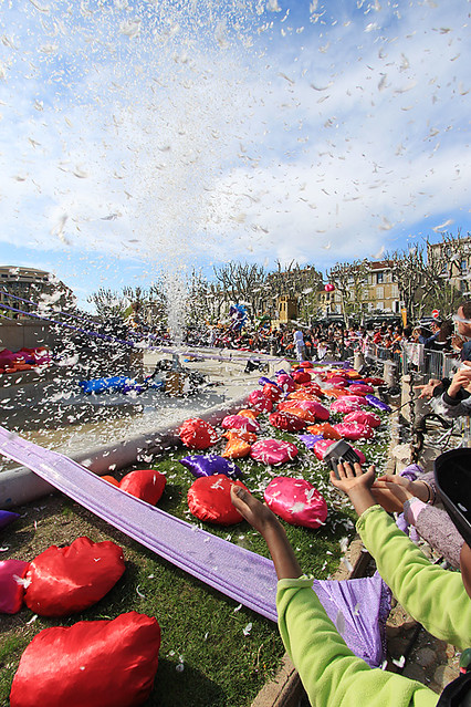 Feather explosion at the Carnaval in Aix-en-Provence, France