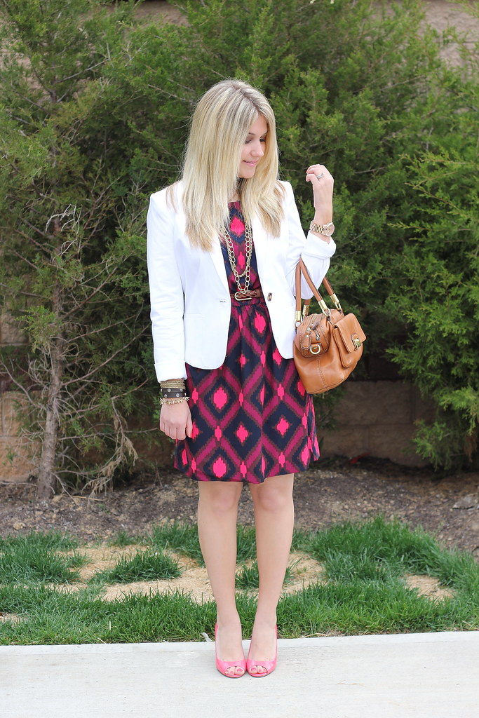 white blazer and ikat print dress