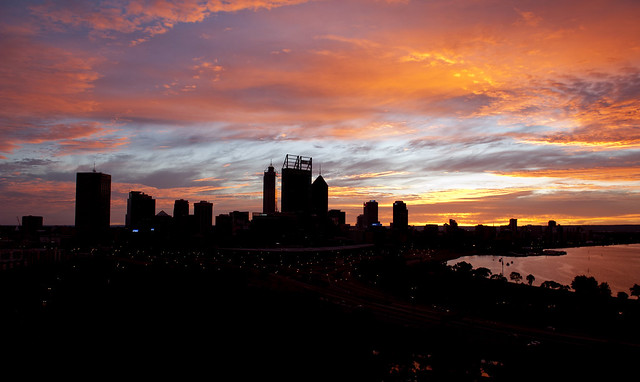 Perth skyline dawn