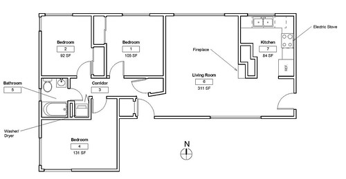 3-Bedroom apartment layout