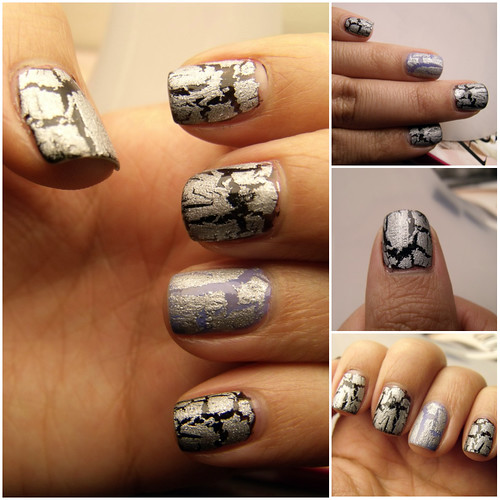 Crackle silver nails