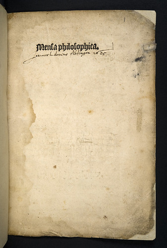Title-page of Mensa philosophica