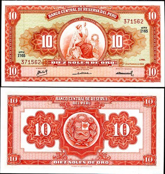 10 Soles De Oro Peru 1968, Pick 84