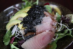 Tuna Avocado salad with seaweed sauce