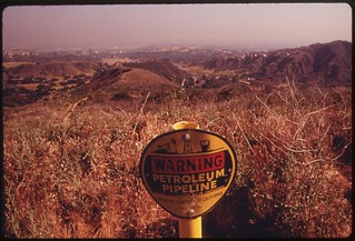 Petroleum pipeline signals future development off Mulholland Drive in the Santa Monica Mountains on the western edge of Los Angeles, May 1975