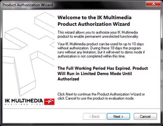 AmpliTube Authoriazation Wizard