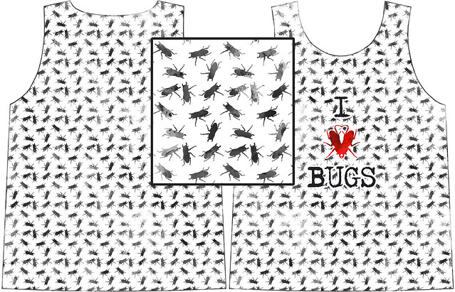 "boys tee-shirt ""I ♥ bugs"" watercolor version"