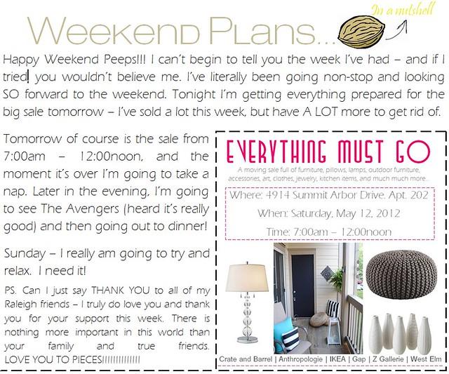weekend plans 5.11.12