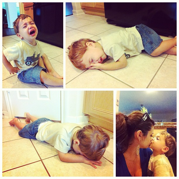 Evolution of a fit! Always comes back to Mommy making it better!! #son #kisses