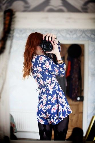 19.05.12 :: Dainty Diana @Tightsplease @redordeadlondon Lace Hold-up detail tights with Topshop Pretty Floral Playsuit