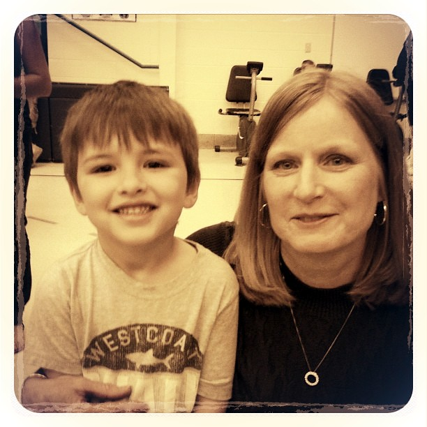 Evan and his teacher Mrs. Walker