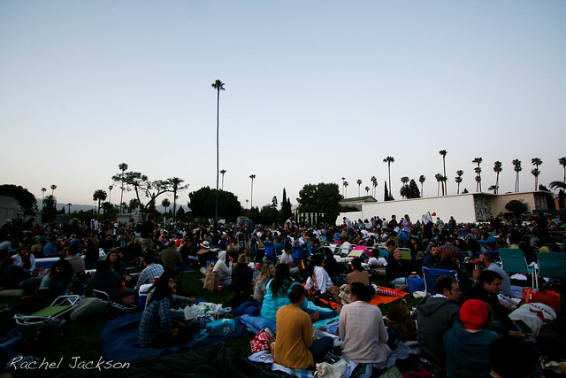 cinespia screening at the hollywood forever cemetery