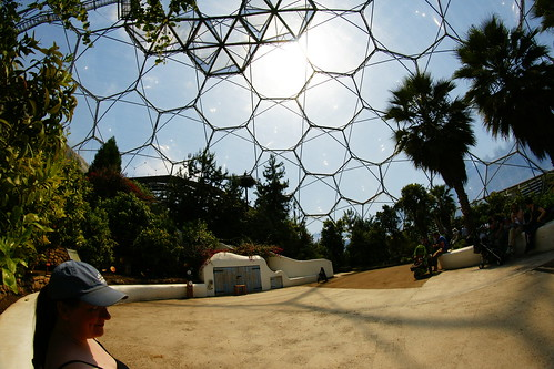 Inside the Mediterranean Biome at Eden. Blue skies, blazing sun, abundant green leaves, people wearing summer clothes.