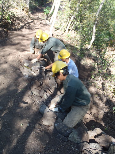 A Utah Conservation Corps crew works on a trail in Providence Canyon in Uinta-Wasatch-Cache National Forest,  during the summer 2011 work season.