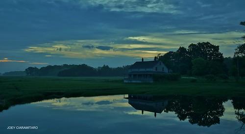 Essex MA at Dawn 4:39AM 5/30/12 Essex Salt Marsh and The Burnham House by captjoe06