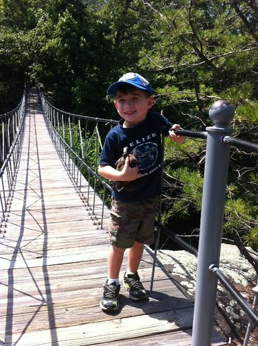Chase and Buddy crossing the suspension bridge at Rock City, Lookout Mountain, Georgia