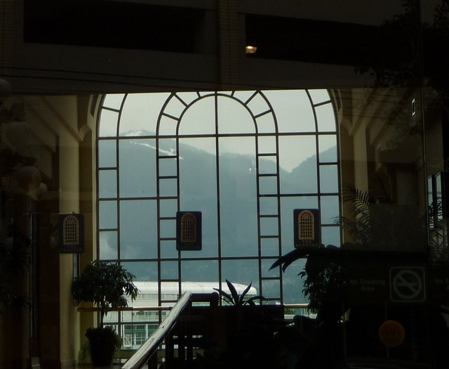 View of mountains through building window