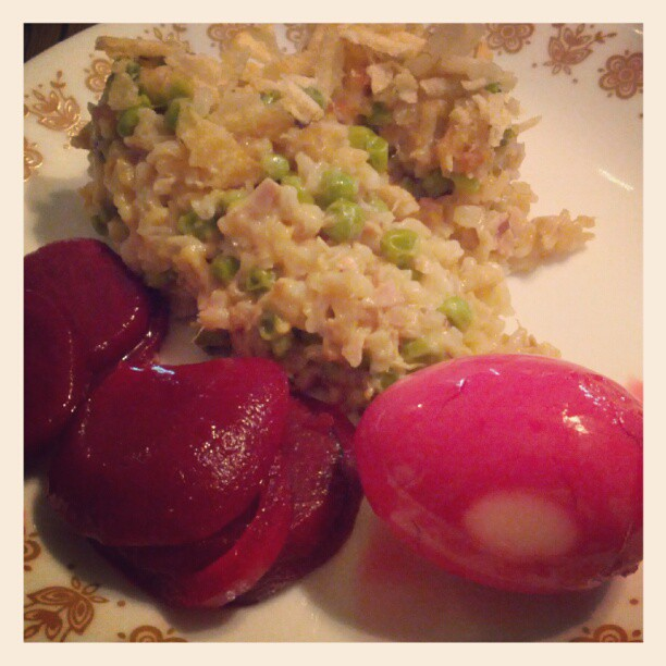 Tuna casserole with potato chip topping, pickled beets and hard boiled eggs.