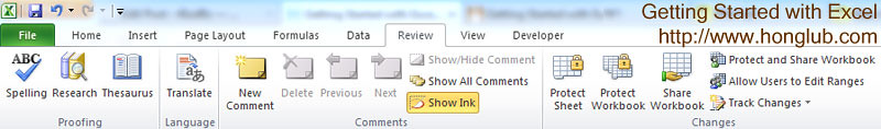 The review tab in Excel 2010 ribbon