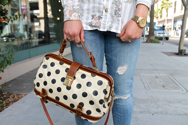 mixing prints: polka dots, stripes, and florals