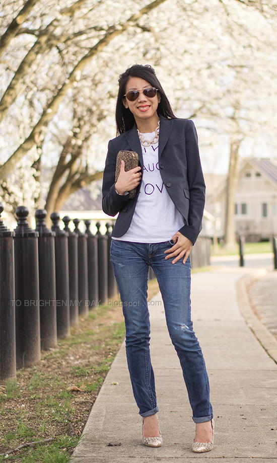navy blazer, graphic tee, statement necklace, tweed and glitter pumps